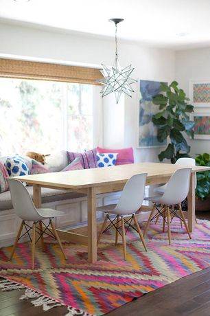 Eclectic Dining Room with Hardwood floors, Window seat, Chandelier, Polaris Hollywood Regency Star Glass Pendant - Large