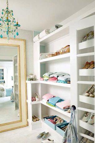 Eclectic Closet with Built-in bookshelf, Glass panel door, Standard height, interior wallpaper, Chandelier, Carpet