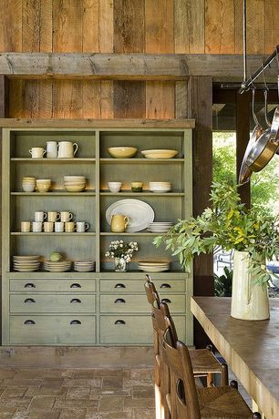 Country Kitchen with limestone tile floors, Pottery Barn - Great White Dinnerware, High ceiling, European Cabinets