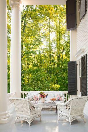 Traditional Porch with exterior tile floors, double-hung window, exterior concrete tile floors, Deck Railing