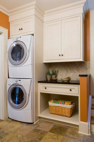 Traditional Laundry Room with Undermount sink, Ms international absolute black granite, laundry sink, Built-in bookshelf
