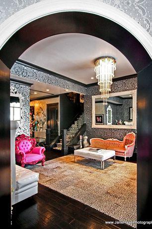 Contemporary Living Room with interior wallpaper, Crown molding, Chandelier, Hardwood floors