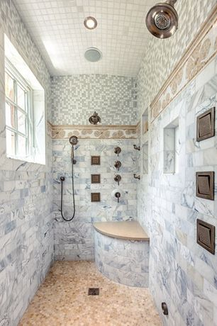 "Traditional Master Bathroom with Speranza Carrera 4"" x 12"" Polished Marble Tile, Marble subway tiles, Glass mosaic tiles"