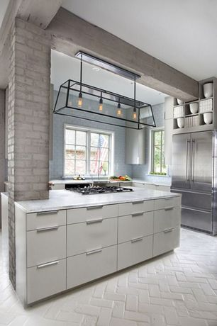 Contemporary Kitchen with Painted brick, European Cabinets, Exposed beam, herringbone tile floors, U-shaped, Subway Tile
