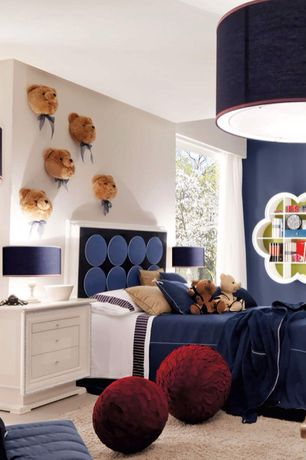 Contemporary Kids Bedroom with Standard height, flush light, Carpet, Built-in bookshelf, no bedroom feature, specialty window