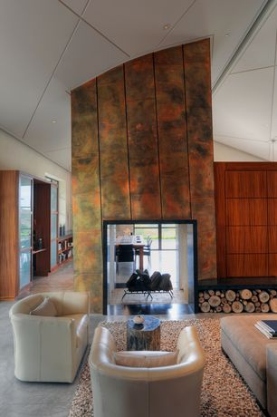 Contemporary Living Room with Petrified forests hollywood petrified wood stool, Polished concrete floor, slate floors