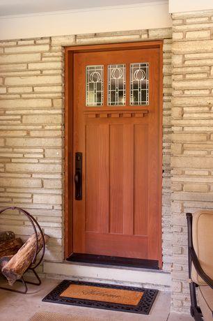 Craftsman Front Door with Glass panel door, exterior stone floors