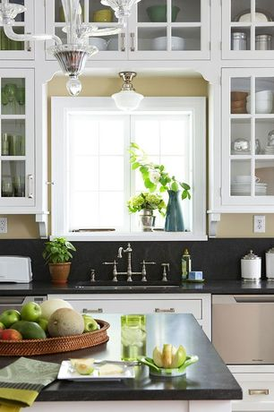 Traditional Kitchen with Undermount sink, Pendant light, flush light, Soapstone counters, Soapstone, Standard height, Flush