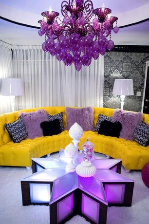 Eclectic Living Room with Sinatra sofa in canary faux leather, Urban Trends Ceramic Artichoke on a Pedestal SM White Large