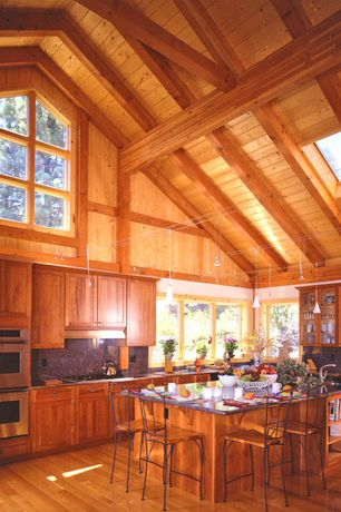 Rustic Kitchen with Pendant light, L-shaped, High ceiling, Flush, Glass panel, Simple granite counters, Skylight