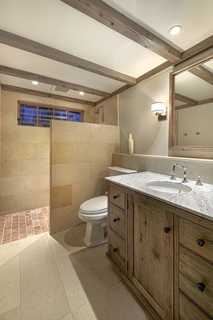 Country 3/4 Bathroom with Complex marble counters, Calacatta vagli marble slab, can lights, European Cabinets, Shower, Flush