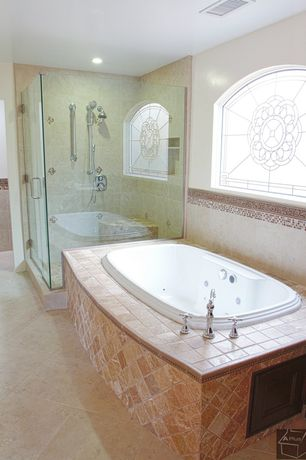 Traditional Master Bathroom with Pental halila gold limestone, Master bathroom, Handheld showerhead, Stained glass window