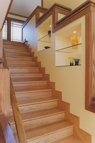 Craftsman Staircase with High ceiling, Floating glass shelves, Oak stairs and railing, Hardwood floors