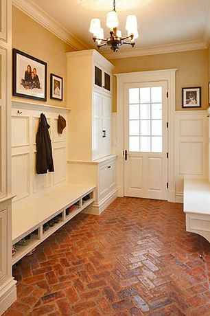 Traditional Mud Room with Glass panel door, Chandelier, Wainscotting, Brick floors, Fireclay Tile Rust Gloss Thin Brick