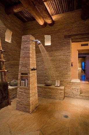 Rustic Master Bathroom with slate floors, Solistone 6-pack portico slate montsegur natural slate indoor/outdoor wall tile