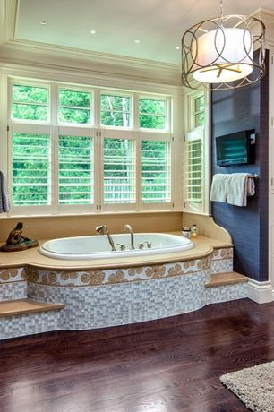 Modern Master Bathroom with can lights, Flat panel cabinets, Hardwood floors, Casement, Pendant light, Inset cabinets