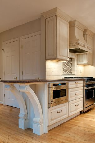Traditional Kitchen with Standard height, Framed Partial Panel, six panel door, One-wall, Wall Hood, Complex granite counters