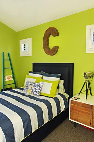 Contemporary Kids Bedroom with Zinc Door Metal Letter, Hunter douglas newstyle hybrid shutters