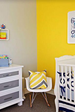 Eclectic Kids Bedroom with no bedroom feature, Built-in bookshelf, Carpet, Standard height