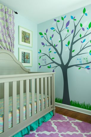 Contemporary Kids Bedroom with Lattice trellis pink and white area rug, no bedroom feature, Paint, Hardwood floors, Mural