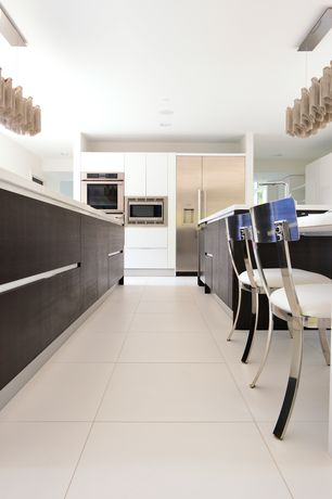 Contemporary Kitchen with Pendant light, Emser-times square white polished 24 in. x 24 in. porcelain floor and wall tile