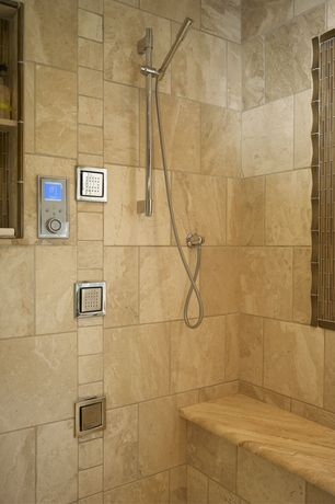 Modern Master Bathroom with Delta chrome vero hand shower package, Florim usa porcelain floor and wall tile - wish in gold