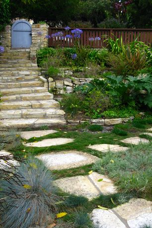 Traditional Landscape/Yard with Gate, Pathway, Paint, exterior stone floors, Fence, Raised beds