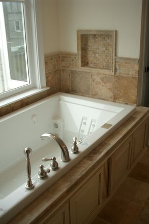"Traditional Master Bathroom with specialty door, 12"" x 12"" porcelain tile, Jetted bathtub, Tumbled mosaic tile"