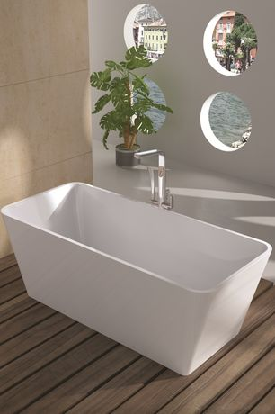 "Modern Master Bathroom with Conair Pollenex Solid Teak Shower Mat, Wyndham Collection Emily 69"" x 31"" Bathtub, Bathtub"