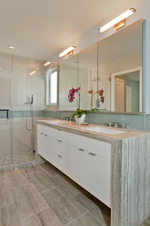 Contemporary Master Bathroom with MS International  White Oak Marble, Double sink, MS International Grey Porcelain Tile