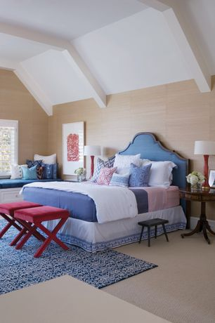 Contemporary Master Bedroom with interior wallpaper, High ceiling, Window seat, Carpet, Exposed beam