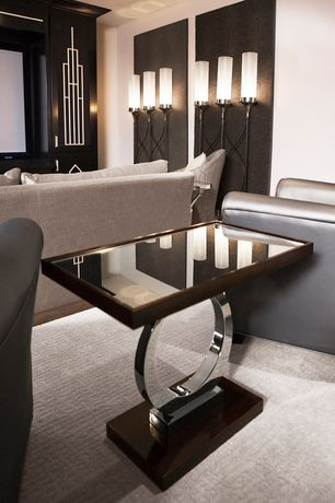 Art Deco Home Theater with Walnut inlay, Milan side table, Ebony-stained built-in television cabinet, Three light floor lamp