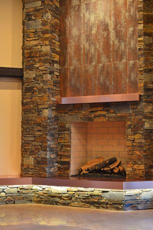 Contemporary Great Room with Concrete tile , Daltile Continental Slate Colorbody Porcelain, High ceiling, stone fireplace