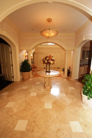 Traditional Entryway with Columns, Crown molding, complex marble tile floors, High ceiling, flush light, Wall sconce