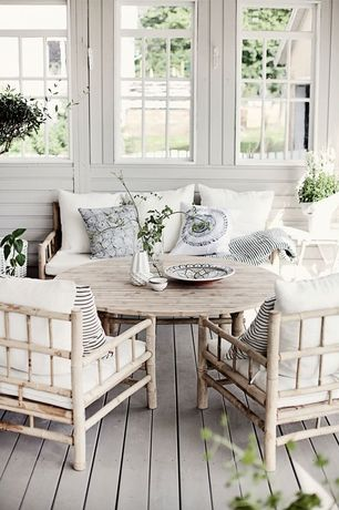 Cottage Porch with Drop channel siding, Screened porch, Whitewashed outdoor seating set, Casement