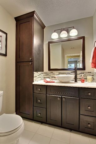 Modern Full Bathroom with Flush, Paint 1, Vessel sink, Subway Tile, Wall Tiles, Flat panel cabinets, Powder room