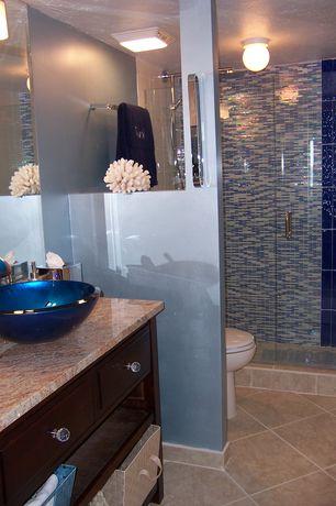 Contemporary Master Bathroom with Choose Frameless Pivot Hinge Shower Door Configurations, Complex Granite, Master bathroom