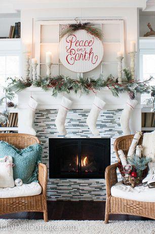 Traditional Living Room with West elm darby wool shag rug, Built-in bookshelf, Crown molding, Hardwood floors