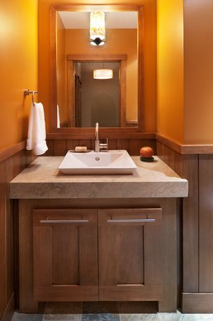 Contemporary Powder Room with Powder room, Wainscotting, Vessel sink, Limestone counters, flush light, Flush, Paint