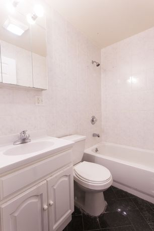 Traditional Full Bathroom with Undermount sink, flush light, slate tile floors, Inset cabinets, tiled wall showerbath