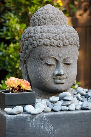 Asian Landscape/Yard with Buddha head cast resin outdoor statue, Fence