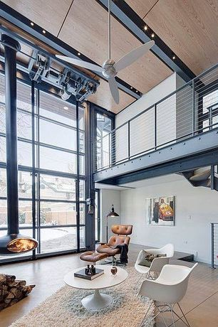 Modern Living Room with Balcony, Smart furniture eames molded fiberglass armchair, wire base, High ceiling, French doors