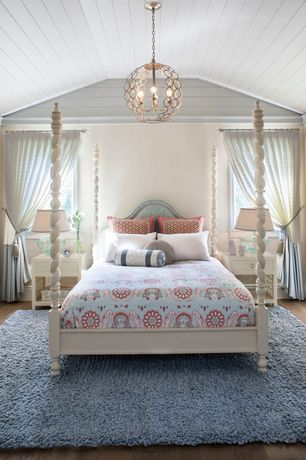 Cottage Master Bedroom with Circlet sphere chandelier, Pendant light, Polo 1-drawer side table, Hardwood floors