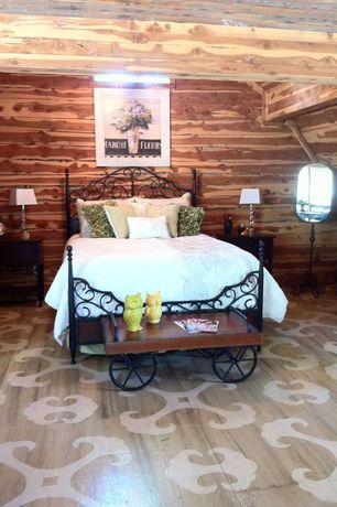 Eclectic Master Bedroom with Hardwood floors, flush light, Exposed beam, Standard height