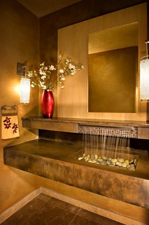 Asian Powder Room with Custom Concrete Waterfall Sink, Wall sconce, Undermount sink, Powder room
