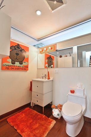 Eclectic Kids Bathroom with Undermount sink, Glacier bay 60 in. l x 16 in. w beveled door mirror, Corner window, Flush