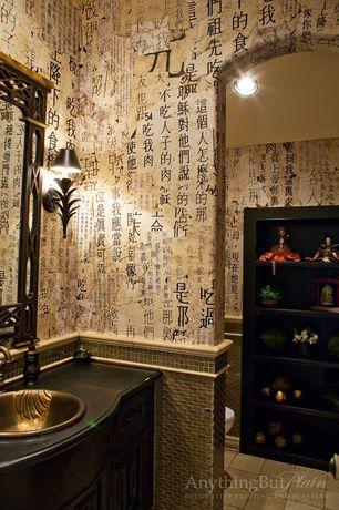 Asian Powder Room with Daltile - Napolina Limestone, limestone tile floors, Daltile tropical brown blend mosaic tile, Flush