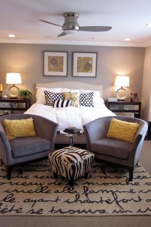 Modern Guest Bedroom with SONNET AREA RUG, Paint, Standard height, Carpet, Drake Night table with 2 Mirrored Drawers