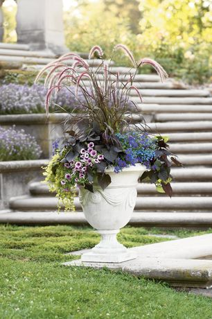 Traditional Landscape/Yard with Pathway, Carved Stone Creations Round Granite Planter with Square Pedestal Base, Raised beds