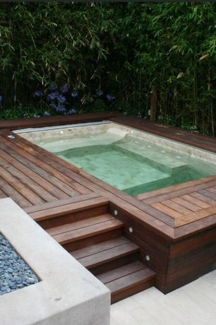 Contemporary Hot Tub with Pathway, Fence